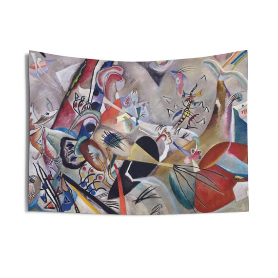 In Grey, Indoor Wall Tapestry, Vintage Abstract Painting, Wassily Kandinsky, 1919