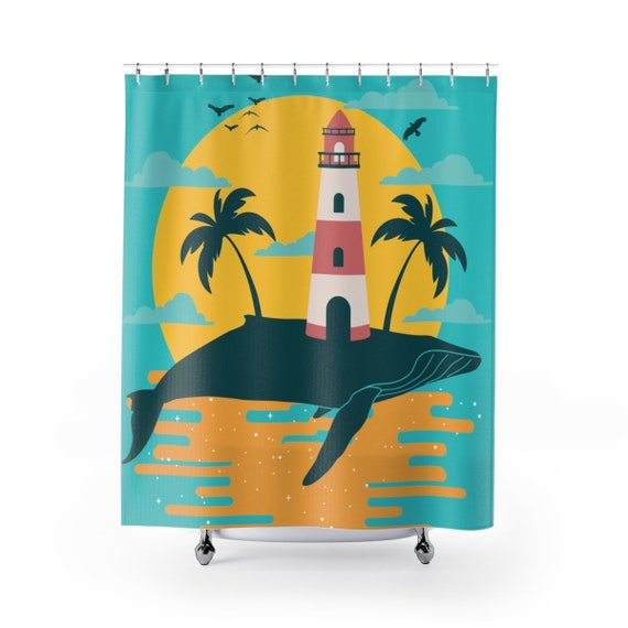 Turquoise Whale Island, Polyester Shower Curtain, Vintage Inspired Image, Lighthouse, Gulls, Palm Trees