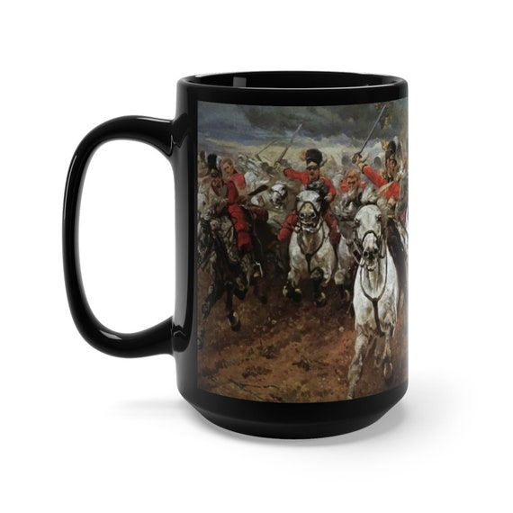 Scotland Forever! Black 15oz Ceramic Mug, Charge of the Royal Scots Greys, Battle of Waterloo, Military History