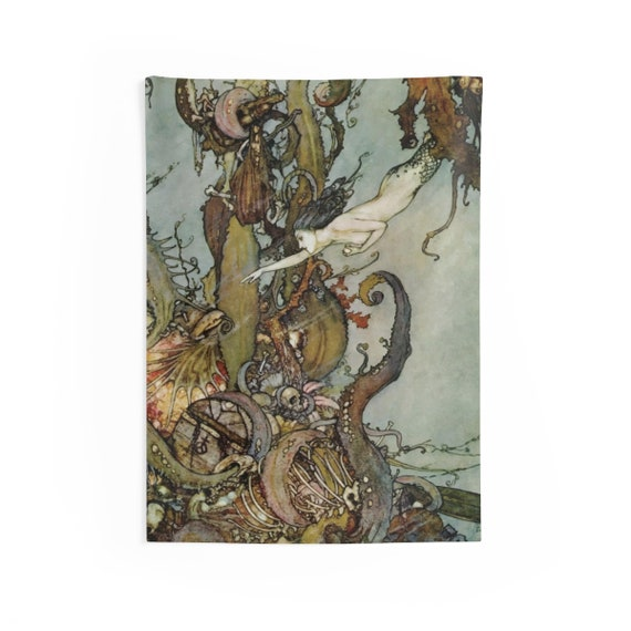"Davy Jones Locker, 26""x36"" Indoor Wall Tapestry, Little Mermaid, Kraken, Vintage Illustration, Edmund Dulac, 1911, Wall Decor, Room Decor"
