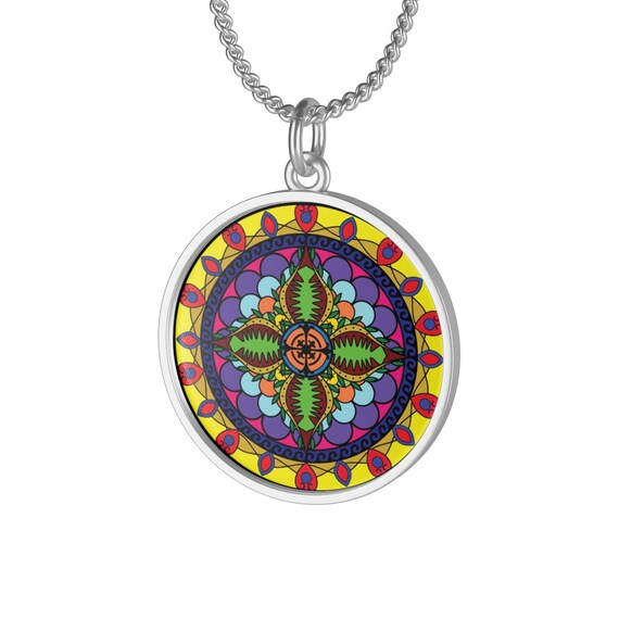 Colorful Cosmos Mandala, Sterling Silver Necklace, Vintage Inspired Spiritual/Meditation Symbol