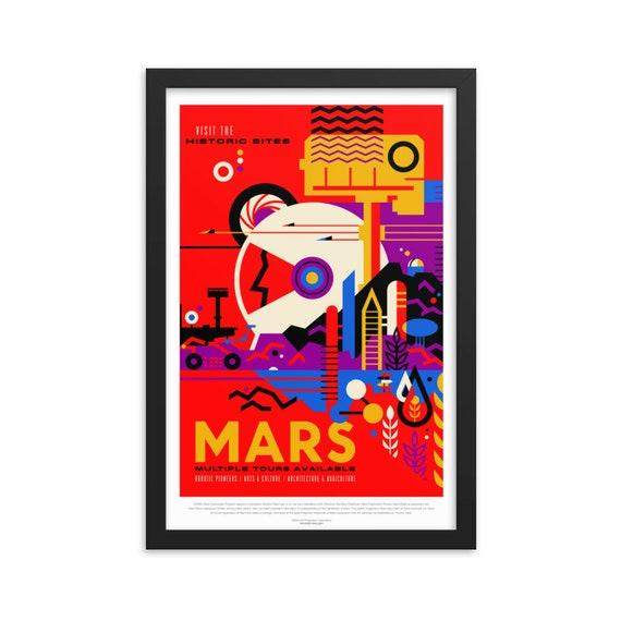 "Solar System: Mars, 12"" x18"" Framed Poster, Black Wood Frame, Acrylic Covering, Fake Vintage/Retro Style NASA Travel Poster, Room Decor"