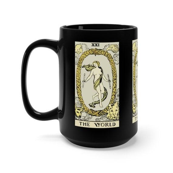 The World, Black 15oz Ceramic Mug, Tarot Card, Major Arcana, From Vintage Rider-Waite Deck, Coffee, Tea