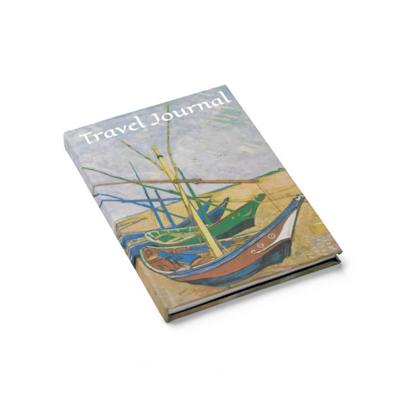 Fishing Boats On The Beach, Travel Journal, Hardcover, Ruled Line, Vintage Painting, Vincent Van Gogh, 1888