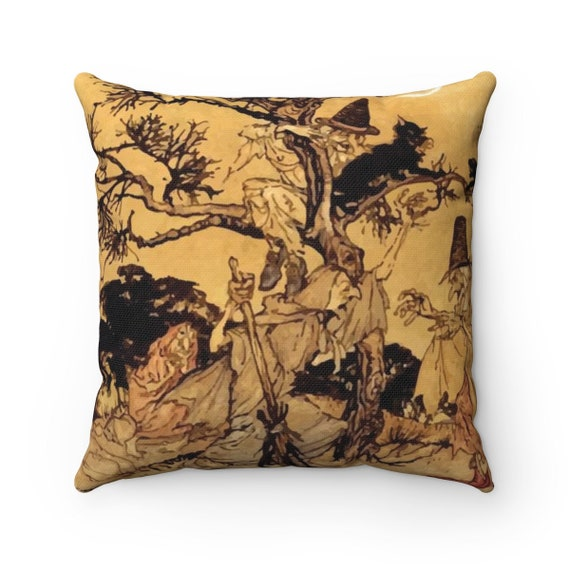 Black Cats & Witches, Square Pillow, Halloween, Vintage Illustration, Arthur Rackham, 1920