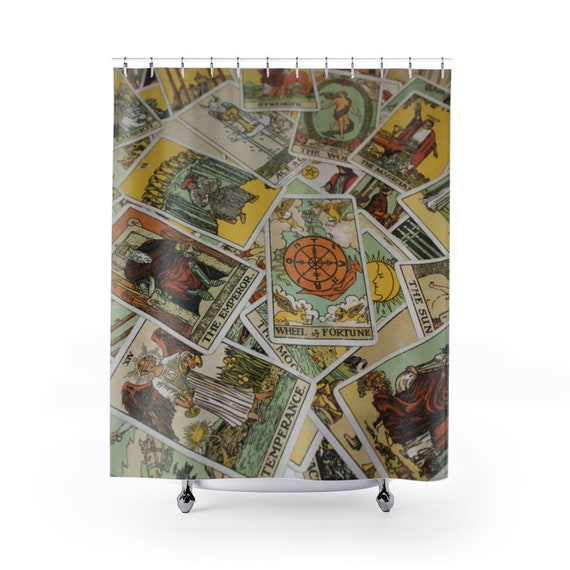 Tarot Card Shower Curtain Focusing On Wheel Of Fortune, Major & Minor Arcana From A Vintage Rider-Waite Deck