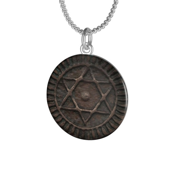 Seal Of Solomon Amulet, Chain Necklace, Image Of Antique Moroccan Bronze Coin