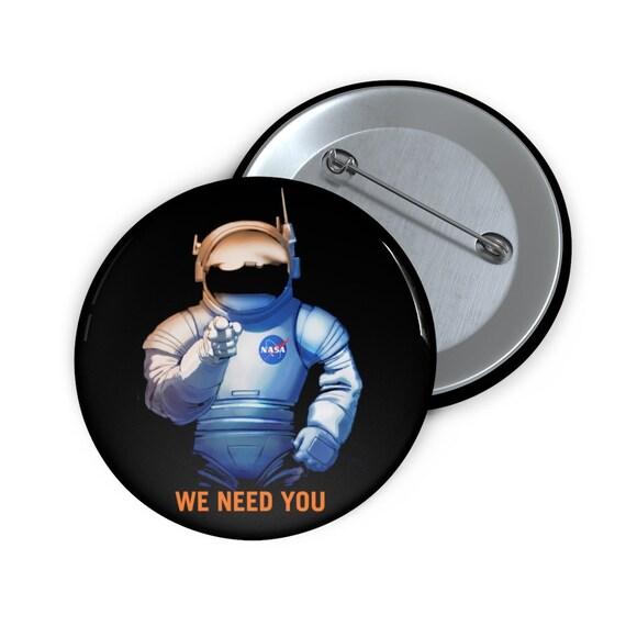 """We Need You On Mars, 2"""" Pin Button, Fake Vintage/Retro Style NASA Recruitment Poster"""