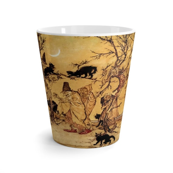 Black Cats & Witches, 12oz Latte Mug, Halloween, Vintage Illustration, Arthur Rackham, 1920