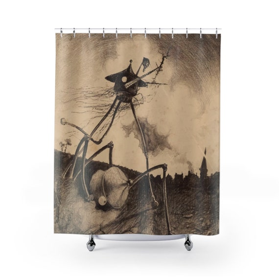 War Of The Worlds, 2 of 6, Shower Curtain, Vintage 1906 Illustration, H.G. Wells