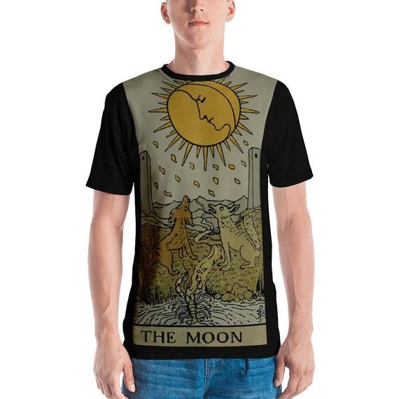 The Moon Tarot Card, Unisex T-shirt, Vintage, Antique Illustration, AOP