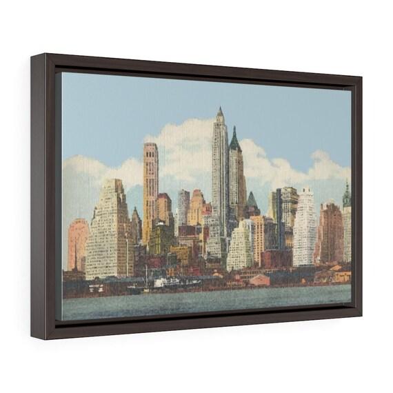 """Lower Manhattan 1944, 18""""x12"""" Framed Gallery Wrap Canvas, New York, Vintage Postcard, Curt Teich"""