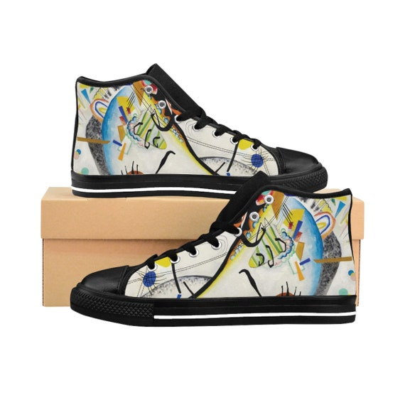 Wassily Kandinsky, Blue Segment, Men's High-top Sneakers, Abstract