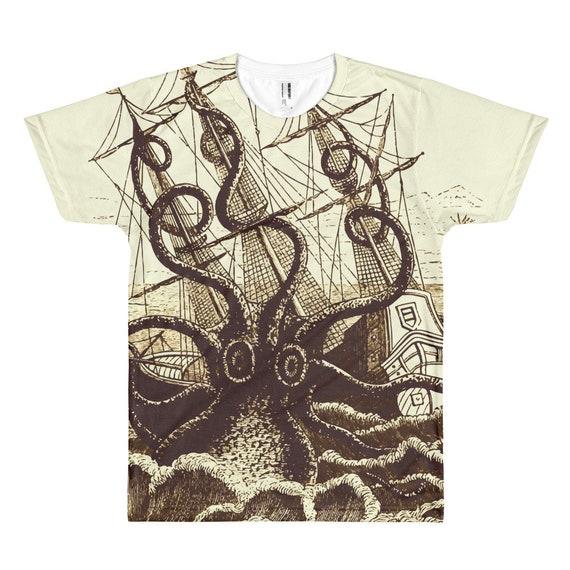 Kraken Attacks Ship, Unisex T-shirt, Vintage, Antique Illustration, Pierre Denys de Montfort, 1801