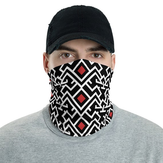 Thunderbirds & Red Diamonds, Neck Gaiter, Vintage Inspired Tribal Pattern, Headband, Bandana