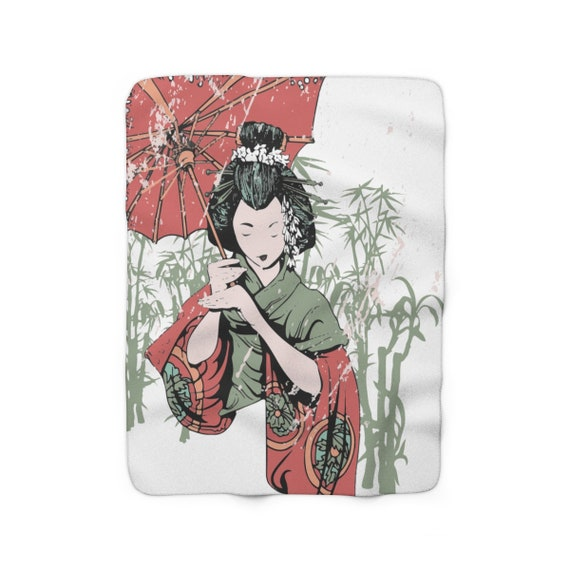 "Japanese Woman With Parasol, 50""x60"" Sherpa Fleece Blanket, Vintage Inspired"