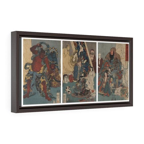 "Ukiyo-e Triptych, 20""x10"" Framed Gallery Wrap Canvas, Japanese Woodblock, Utagawa Kuniyoshi, Circa 1847, Room Decor"