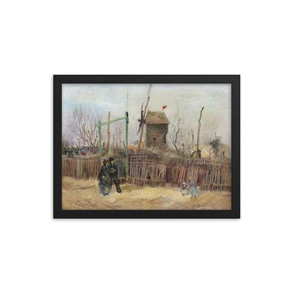 Street Scene In Montmartre v1 Framed Giclée Poster, Black Wood Frame, Acrylic Covering, Vincent Van Gogh, 1887