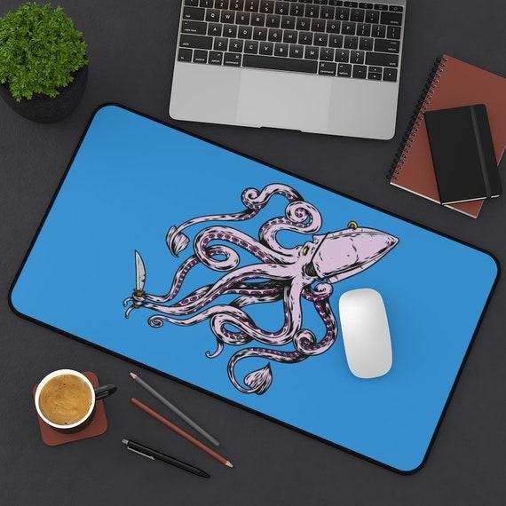 Pirate Octopus Desk Mat, Eye Patch, Gold Earring, Knife
