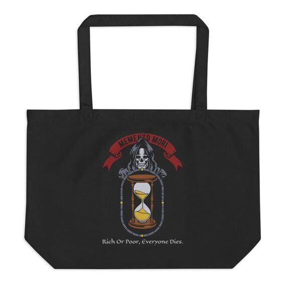 Memento Mori, Large Organic Tote Bag, Vintage Inspired Image, Death, Grim Reaper, Black Cowl, Hourglass