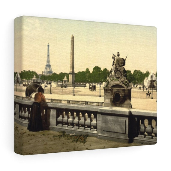Wrapped Canvas With Vintage Photo Of The Place De La Concorde In Paris France From An Antique Postcard Circa 1890 To 1900