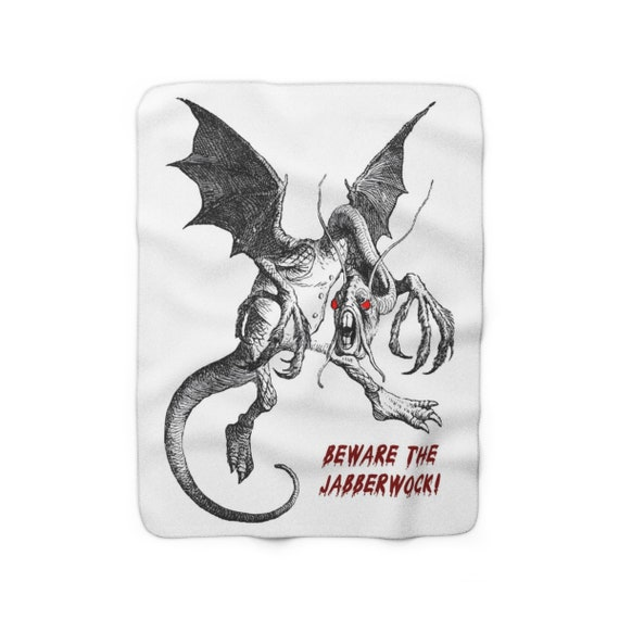 "Beware The Jabberwock, 50""x60"" Sherpa Fleece Blanket, Vintage Illustration. Alice, Through The Looking Glass"