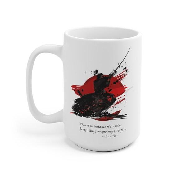 Samurai Large White Ceramic Mug, Vintage Retro Design, Sun Tzu Quote, Anti-war, Activism, Coffee, Tea