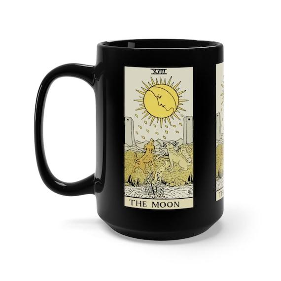 The Moon, Black 15oz Ceramic Mug, Tarot Card, Major Arcana, From Vintage Rider-Waite Deck, Coffee, Tea