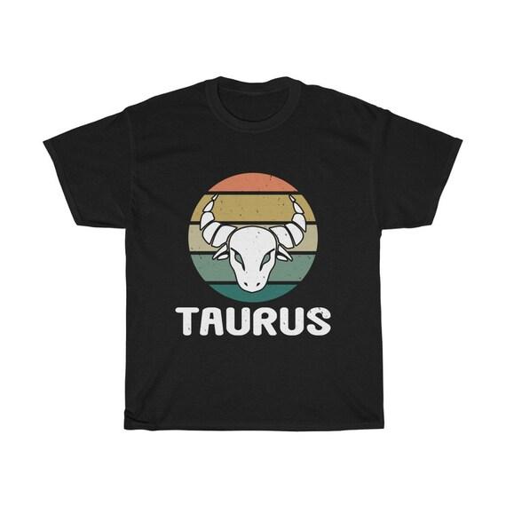 Taurus, 100% Cotton T-shirt, Bull's Head, Retro Vintage Style, Zodiac Sign, Astrology Gift