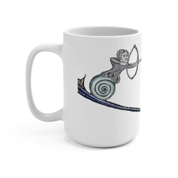 Medieval Rabbit Vs Snail Man White 15oz Ceramic Mug, From Medieval Manuscript, Marginalia, Coffee, Tea