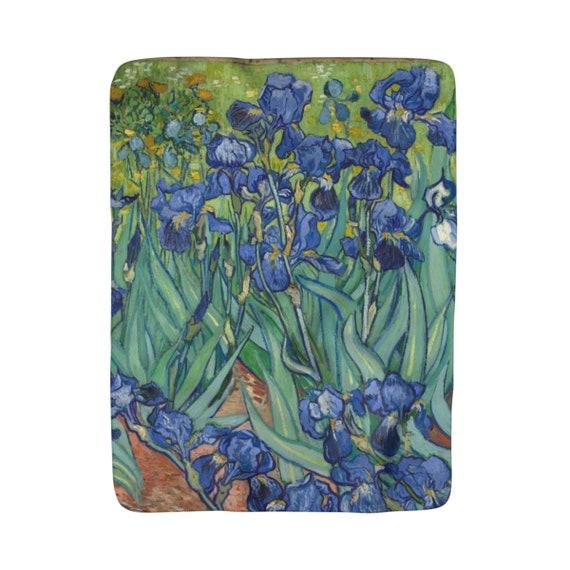"Irises, Sherpa Fleece Blanket, Vintage, Antique Painting, Vincent Van Gogh, 1890, 50""x60"""