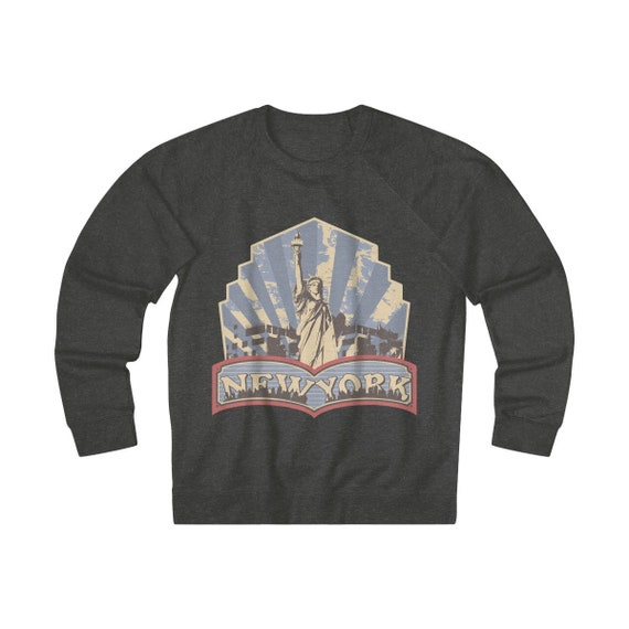 New York, Statue Of Liberty v2, Unisex French Terry Crew Sweatshirt, Retro, Vintage Inspired