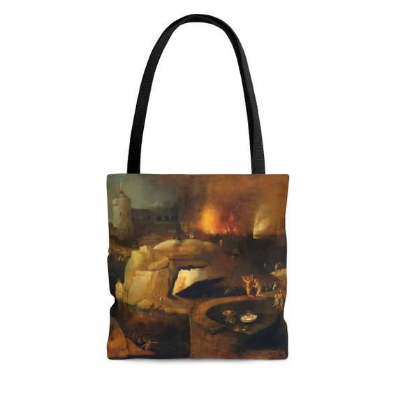Descent Into Hell, Square Tote Bag, Painting By Follower Of Hieronymus Bosch, Circa 1550