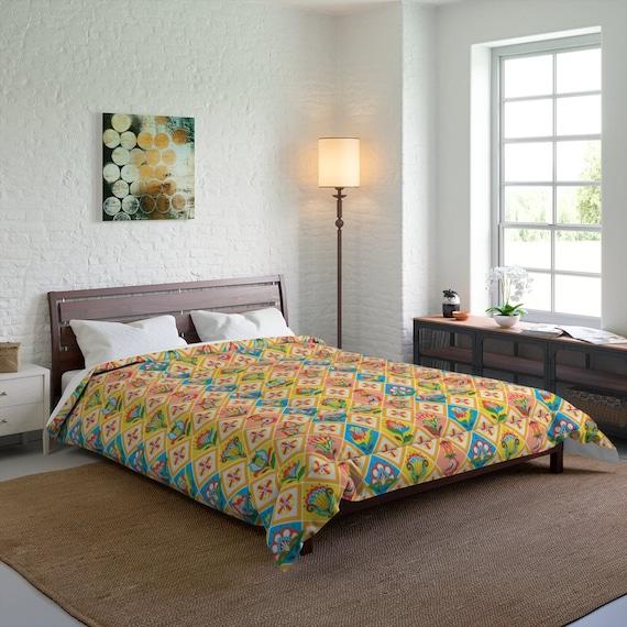 Folk Art Patchwork Quilt Pattern, Queen Comforter, Farmhouse, Country Decor