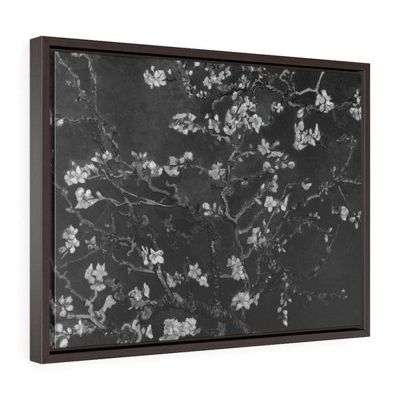 "Almond Blossoms On Black, 24""x18"" Framed Gallery Wrap Canvas, Vincent Van Gogh, 1890, Room Decor"