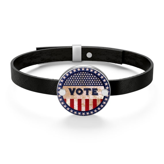 Vote, Sterling Silver And Leather Bracelet, Vintage Vote Button Image