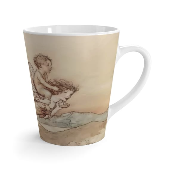 Titania Flying With Her Child, 12oz Latte Mug, Shakespeare, Arthur Rackham, Midsummer Night's Dream, Coffee, Tea