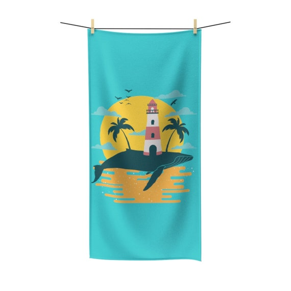 Turquoise Whale Island, Bath Towel, Vintage Inspired Image, Lighthouse, Gulls, Palm Trees