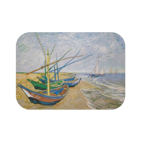 Fishing Boats on the Beach, Microfiber Bath Mat, Vintage Painting, Van Gogh 1888