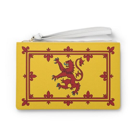 "Lion Rampant of Scotland 9""x6"" Vegan Leather Clutch Bag, Scottish Pride"