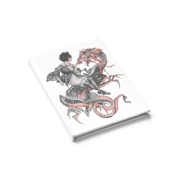 Lady Dragon Rider, Hardcover Journal, Ruled Line, Vintage Jazz Age Illustration