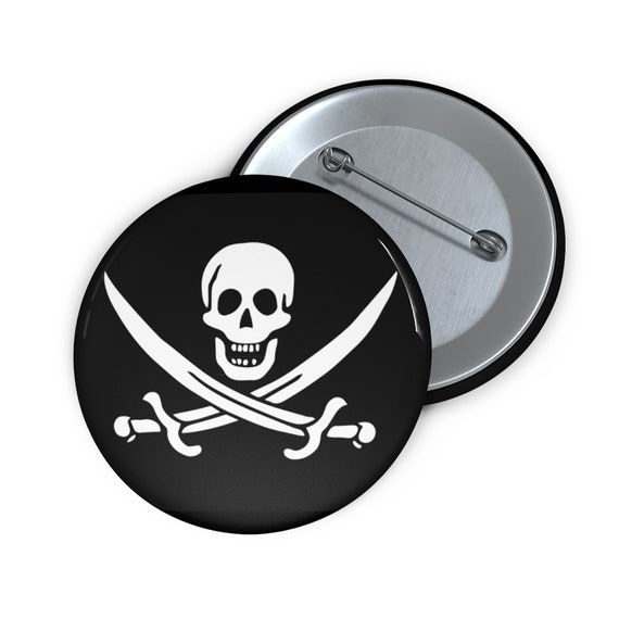 """Jolly Roger, 2"""" Pin Button, Historical Pirate Flag Of Calico Jack"""