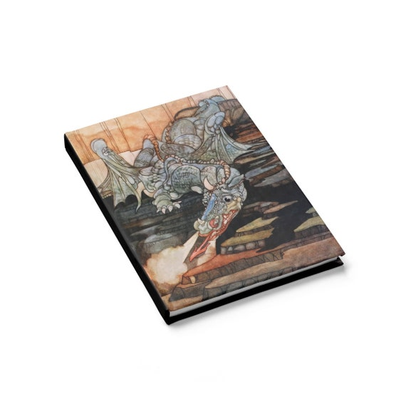 Here Be Dragons, Hardcover Journal, Ruled Line, Vintage Art Nouveau Illustration