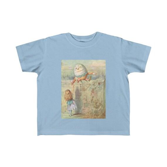 Alice Meets Humpty Dumpty, Kid's Fine Jersey Tee, Vintage Illustration, 1911 Edition Alice's Adventures In Wonderland