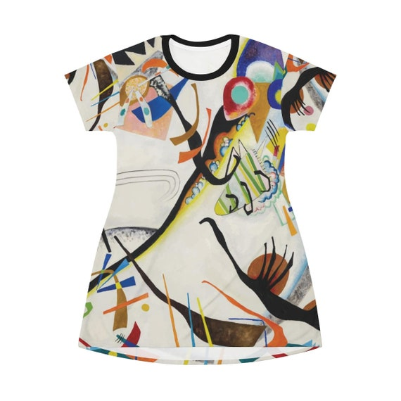 Blue Segment, T-shirt Dress Or Long Flared Top, Vintage Abstract Painting, Wassily Kandinsky, 1921