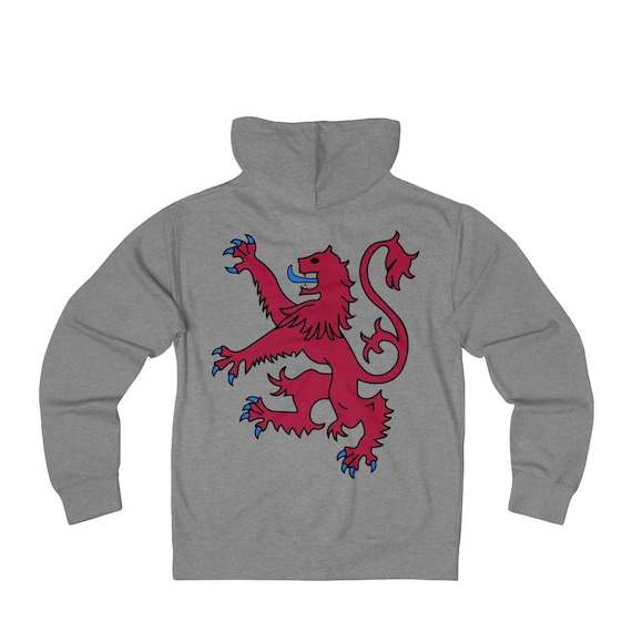 Lion Rampant of Scotland, Unisex French Terry Zip Hoodie, 8 Colors, Royal Banner of the Royal Arms of Scotland, Scottish Pride