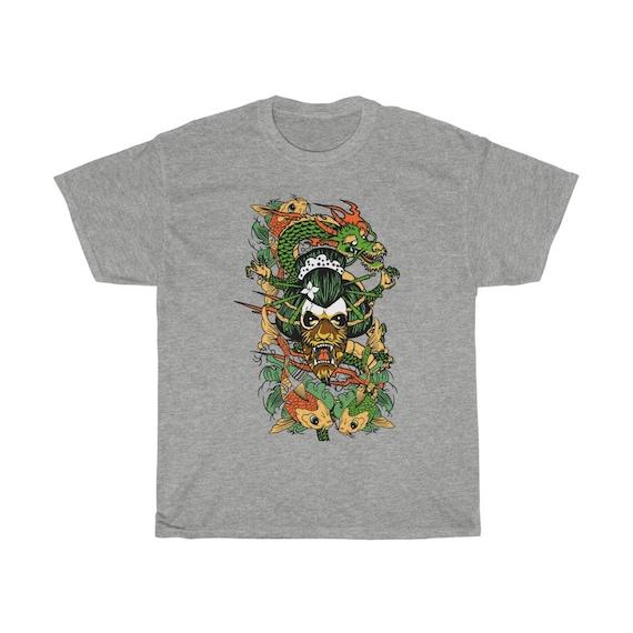Yokai & Dragon 100% Cotton T-shirt, Vintage Retro Style Design, Japanese Folklore