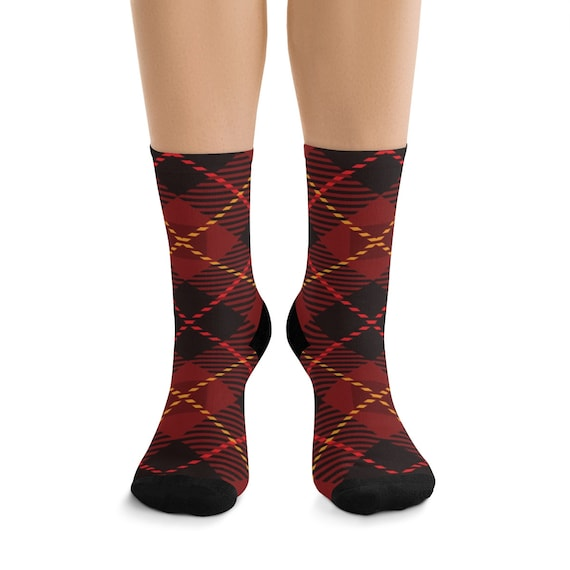 Red, Black & Gold Plaid Premium Crew Socks, One Size Fits Most
