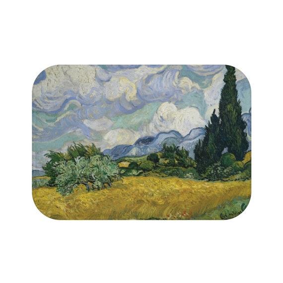 Wheat Field With Cypresses, Microfiber Bath Mat, Vintage Painting, Van Gogh 1889