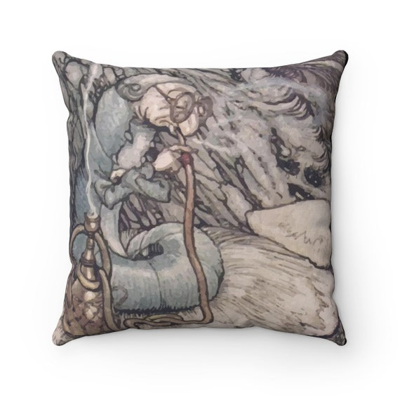 The Hookah Smoking Caterpillar, Square Pillow, Vintage Illustration, Arthur Rackham, 1907